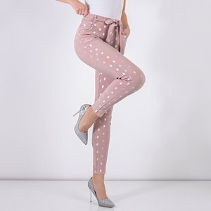 Women's light pink trousers with silver dots - Clothing